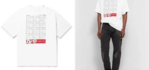 """2018年のカレンダーがプリントされたVETEMENTS 2017-2018 S/S """"Oversized Embroidered Printed Cotton-Jersey TEE"""" (ヴェトモン 2018 春夏)"""