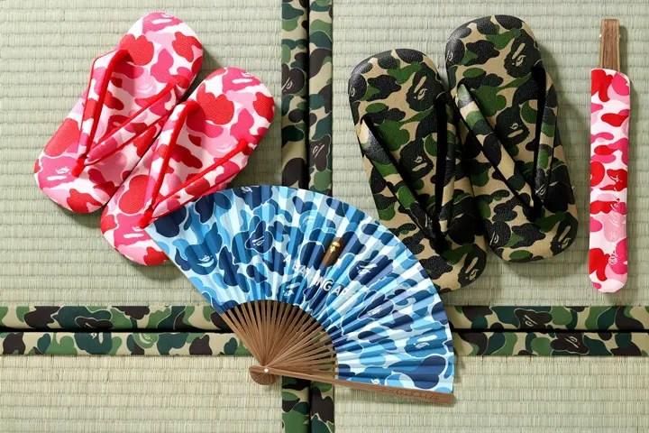 A BATHING APE × 日本の伝統と文化を継承した和紙雪駄にABCカモ柄をプリントした「サンダル/扇子」が3/10発売 (ア ベイシング エイプ)