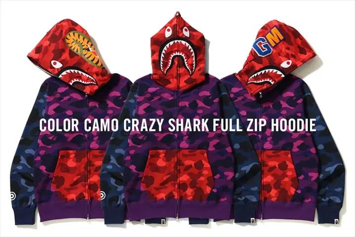 A BATHING APEからCOLOR CAMOのレッド、ネイビー、パープルを使ったクレイジーパターンのシャークフルジップフーディー「COLOR CAMO CRAZY SHARK FULL ZIP HOODIE」が4/14発売 (ア ベイシング エイプ)