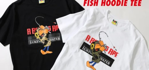 A BATHING APEからルアーをモチーフとしてデザインされたFISH FULL ZIP HOODIEを纏ってフィッシングに興じるBABY MILOのビジュアルがプリントされたTEE「MILO 1ST CAMO FISH HOODIE TEE」が4/14発売 (ア ベイシング エイプ)