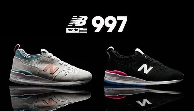 """New Balance「997」のリエンジニアードバージョンに、ベーシックなホワイトとブラックをベースとしたアッパーに、鮮やかな差し色を配して""""アメリカンポップカルチャー""""を表現したオールスエードアッパーモデルが発売 (ニューバランス)"""
