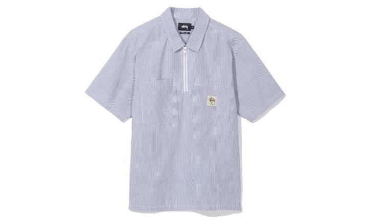 STUSSYから、ワークテイストの刺繍パッチを左胸にあしらったハーフジップ仕様のシアサッカーシャツなどの新作が発売 (ステューシー)
