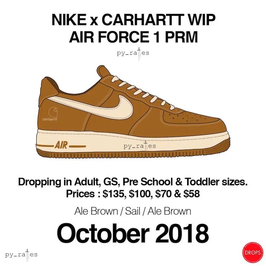【速報】カーハート × ナイキ エア フォース 1 LOW が10月発売予定 (CARHARTT NIKE AIR FORCE 1 COLLECTION)