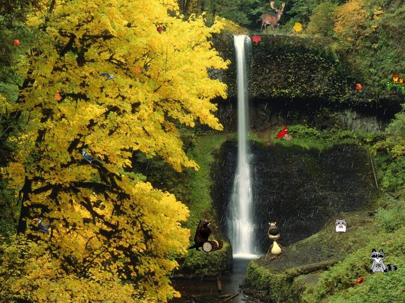 Multonomah Falls Wallpaper Desktop Autumn Fantasy Nature Screensavers Fullscreensavers Com