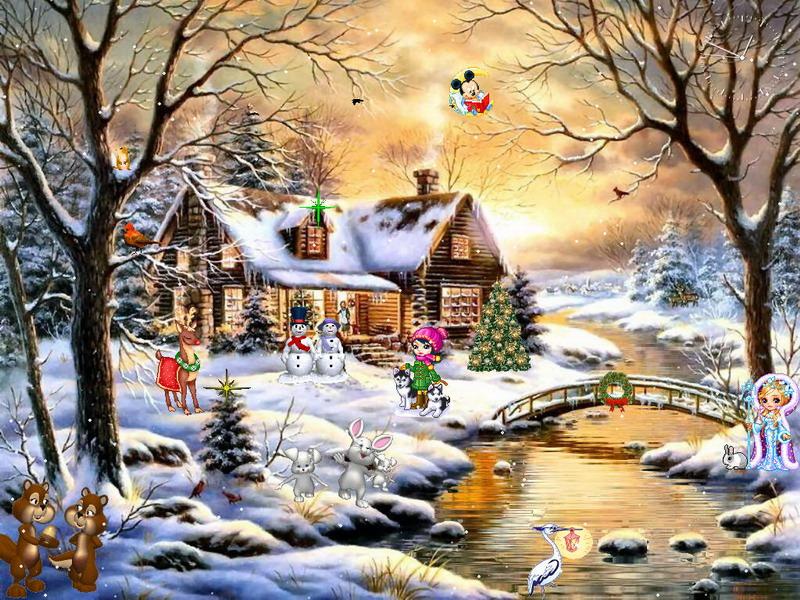 Falling Snow Desktop Wallpaper Christmas Paradise Christmas Screensaver