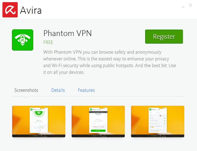 Avira Phantom VPN windows