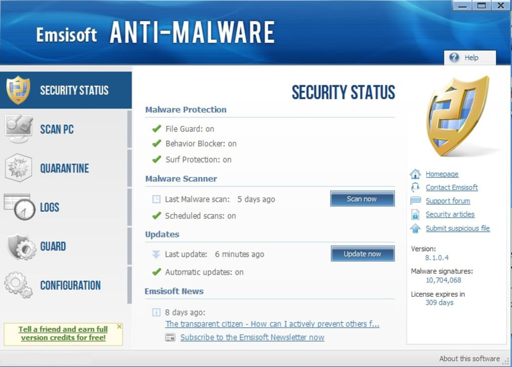 Emsisoft Anti-Malware windows