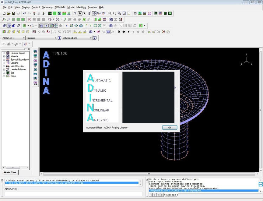 ADINA System windows