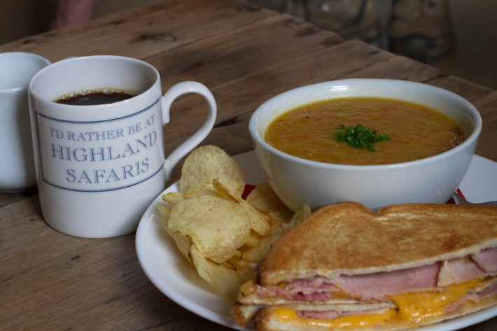 Highland Safaris, Perthshire. Soup and a sandwich meal with a cup of coffee