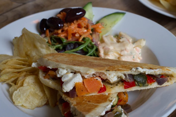 Highland Safaris, Perthshire. Roasted vegetable panini with salad and coleslaw