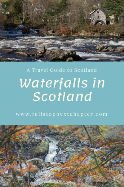 Pin for later. Two photos of waterfalls and title strip - Waterfalls in Scotland