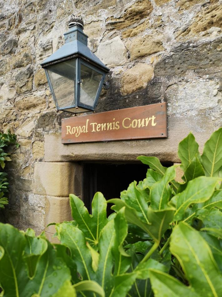 Royal Tennis Court sign at Falkland Palace, Fife