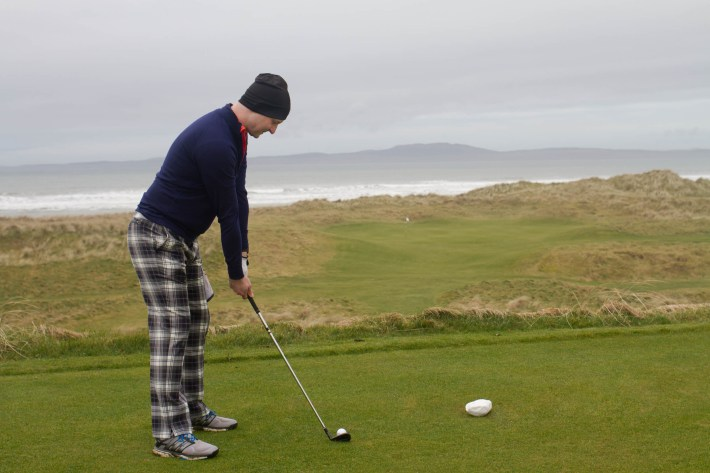 Tee'ing off at the Machrie Links Golf Course