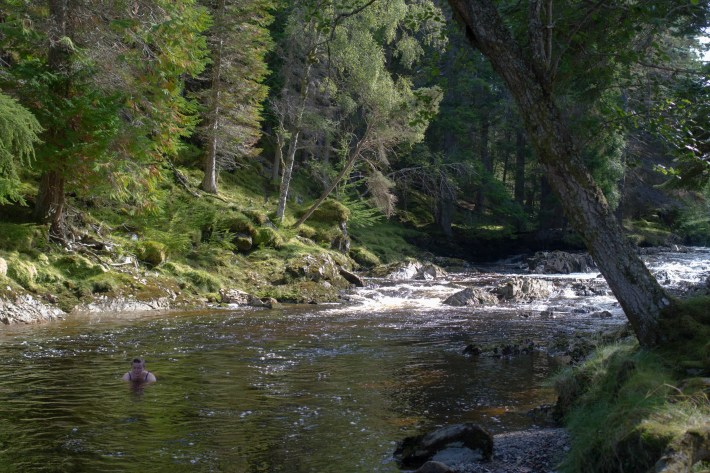 Pattack Falls, Cold Water Swimming. Cairngorms