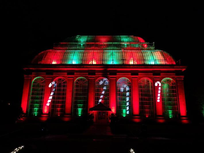 Christmas at the Botanics. Photo of the Glasshouse lit up with candy canes