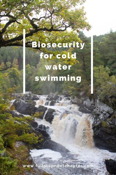 Pin for later. Photo of a waterfall. Words: Biosecurity for cold water swimming.