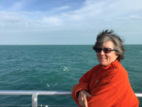 Going to Dry Tortugas National Park, Louise looking for Dolphins