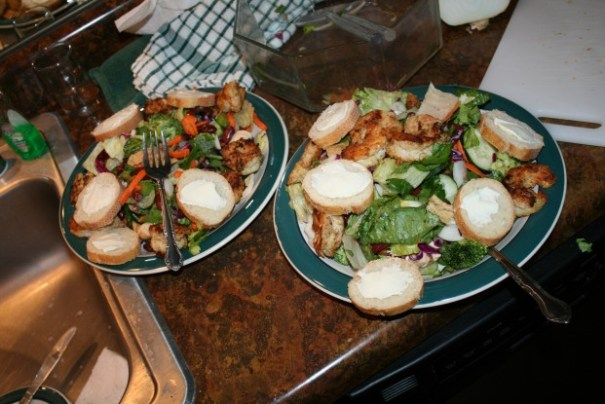 Edie made the salad, I cooked the shrimp.
