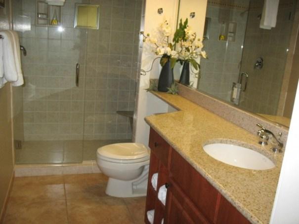 Mock bathroom at timeshare presentation.
