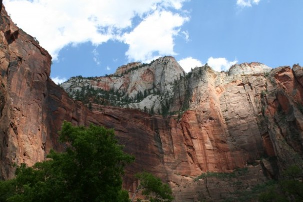 Peaks in back of cliff faces, So beautiful.