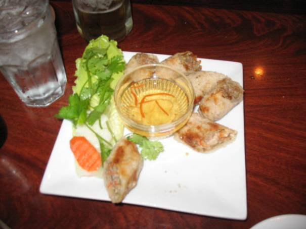 Crispy Spring Rolls, so good.  came with a sweet vinegar sauce.