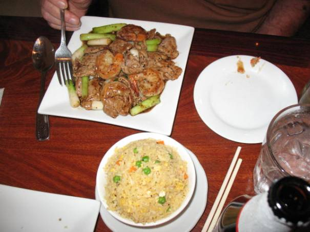 Sauteed Garlic Shrimp, Chicken and Beef with fried Rice.