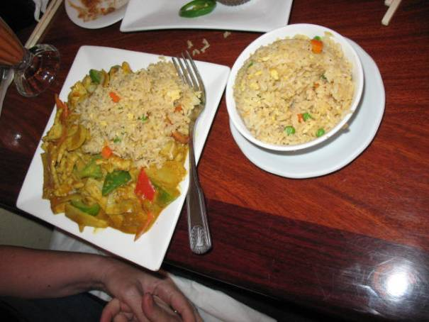 Curry Chicken with fried Rice, it had a little bit, but was very good.