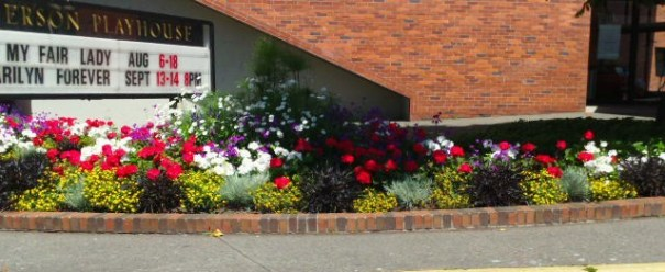 There are public flower beds everywhere.