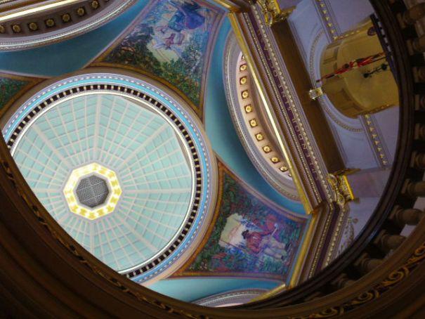 Inside the Rotunda, looking up.