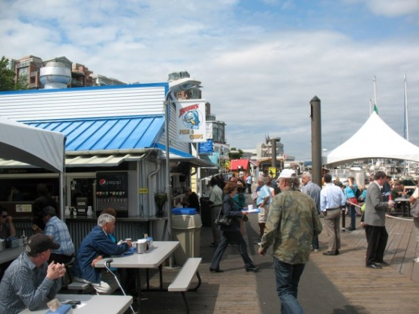 It is Monday and the Wharf is very busy.