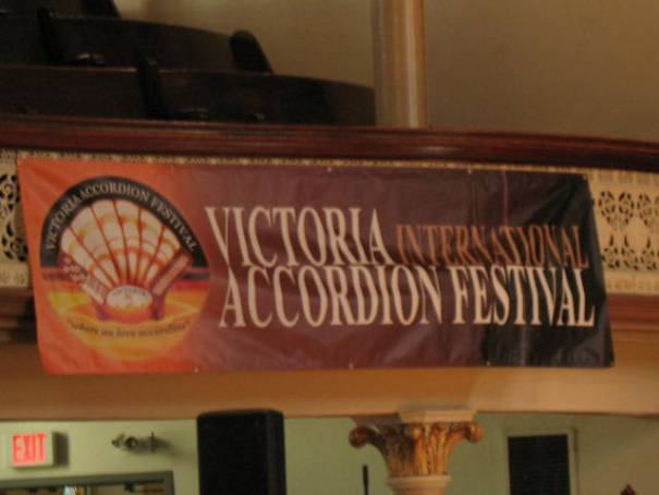 The Banner hung in the Music Hall
