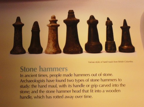 Placard on stone hammers.