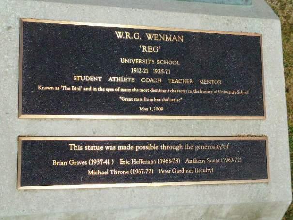 """Bronze Marker memorializing """"The Bird"""" W.R.G. Wenman."""