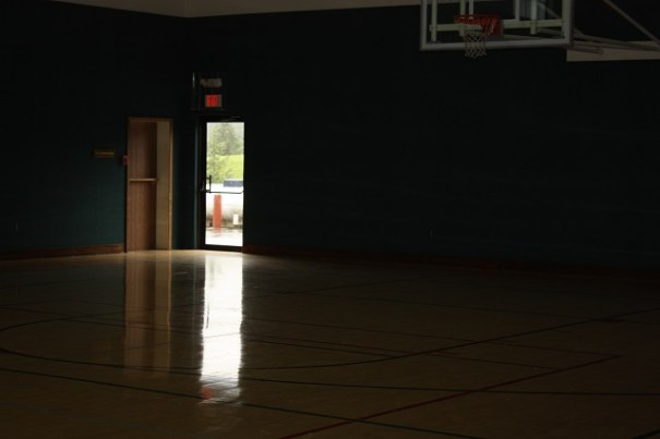 Indoor full basketball court.  Larry played a 10 year old, and won.  The little guy told him he had good moves for an old guy.