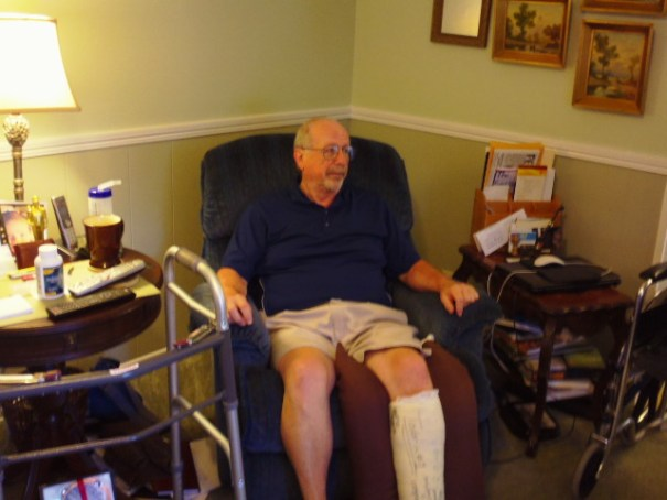 Brother Jim 2 weeks post op for ankle replacement.