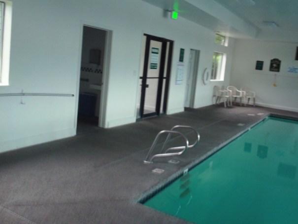 Inside the pool house.