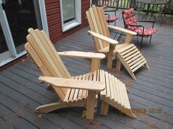 Amish manufactured Adirondack chairs made of cypress.  $160 for the set.  Beautifully sanded and made.  Stainless steel or brass screws.  They will last a very long time.