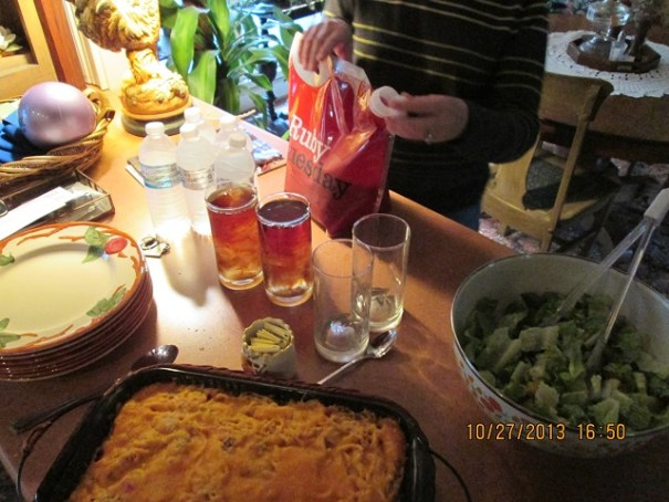 Chicken spaghetti casserole, salad, ice tea and garlic bread.  We were all stuffed by the time we were done.