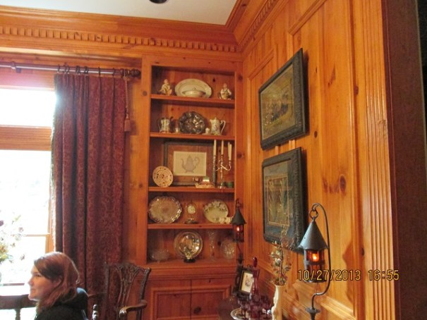 The dining room is so grand and full of beautiful wood work, delicate antiques and wonderful company.