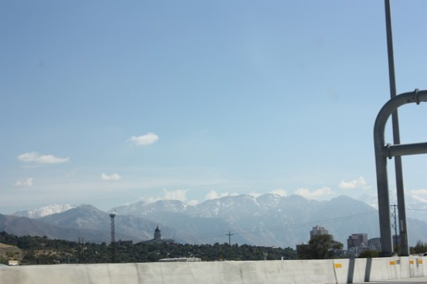Wasatch Mountains capturing clouds.
