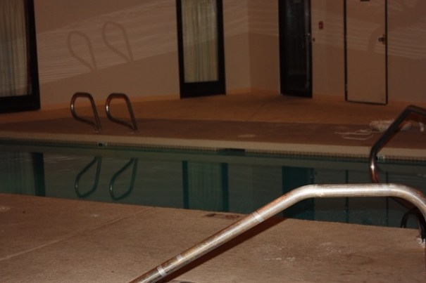 Indoor pool accessed through a glass door at the back of our bedroom.  Heavy curtains give privacy.