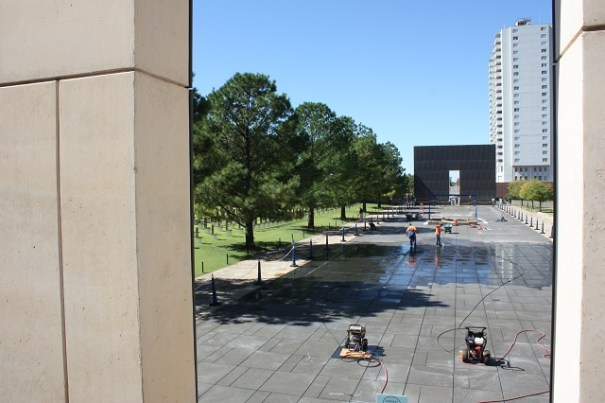 Oklahoma City Memorial reflecting pool being repaired.