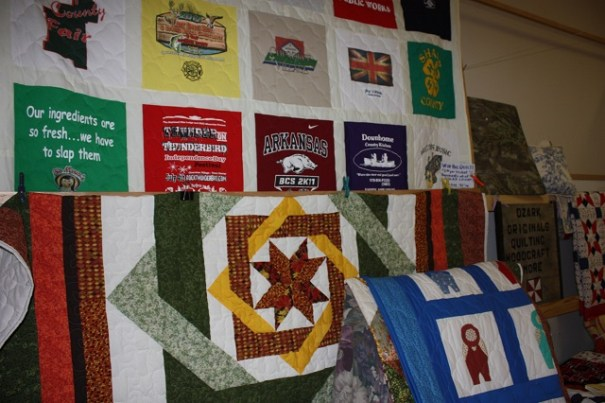 """Lots of really nice quilts.  The star one is called, """"labyrinth""""."""