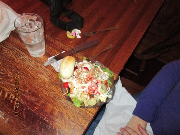 Edie's salad and water.