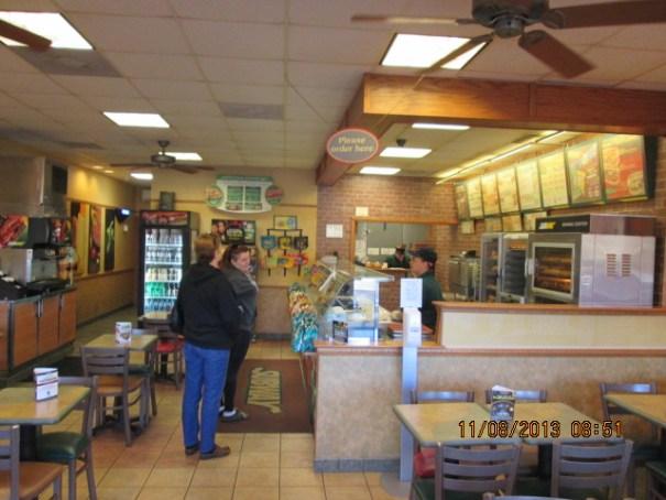 Breakfast at Subway in Brevard, North Carolina.