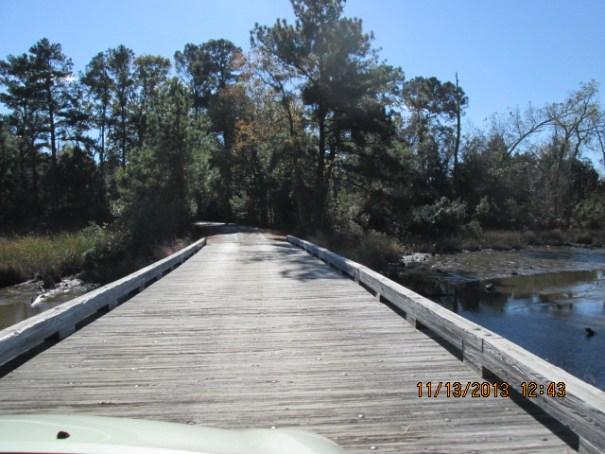 Neat wooden bridges on the park drive way.