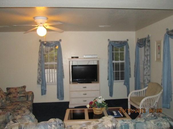 Nice living room and TV.