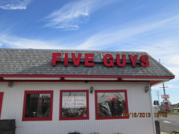 I have never eaten at a Five Guys.  I ate here and learned not to order anything regular.  Get the small, or little as they call it.
