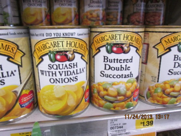 Squash with Vidalia Onions.  Buttered Double Succotash, We bought a can of the triple succotash.