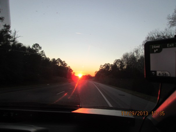 The Sun nailed us directly in the eyes for about 20 minutes as we headed due west.